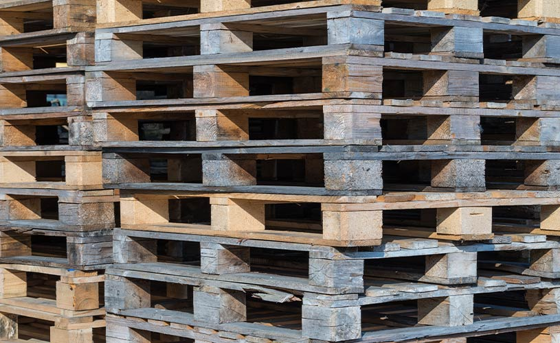 highly stacked pallets